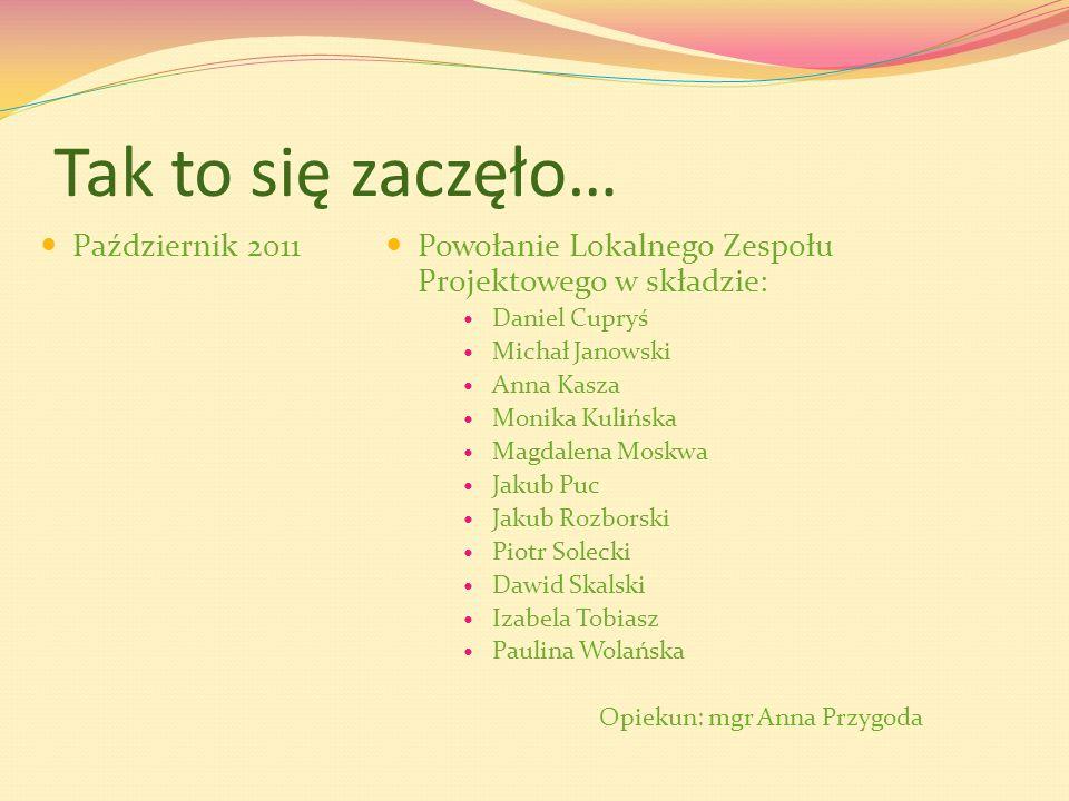Tak to się zaczęło… Październik 2011 Powołanie Lokalnego Zespołu Projektowego w składzie: Daniel Cupryś Michał Janowski Anna Kasza Monika Kulińska Mag