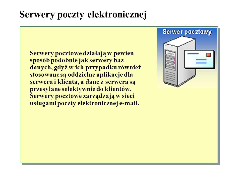 Serwery baz danych Serwery baz danych służą do przechowywania w jednym miejscu i udostępniania dużej ilość danych, dzięki czemu użytkownicy nie muszą