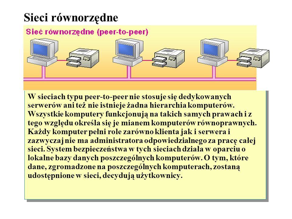 Typy sieci Sieć równorzędne (peer-to-peer) Sieć typu klient-serwer Na podstawie tego, w jaki sposób komputery w sieci są skonfigurowane oraz jak uzysk