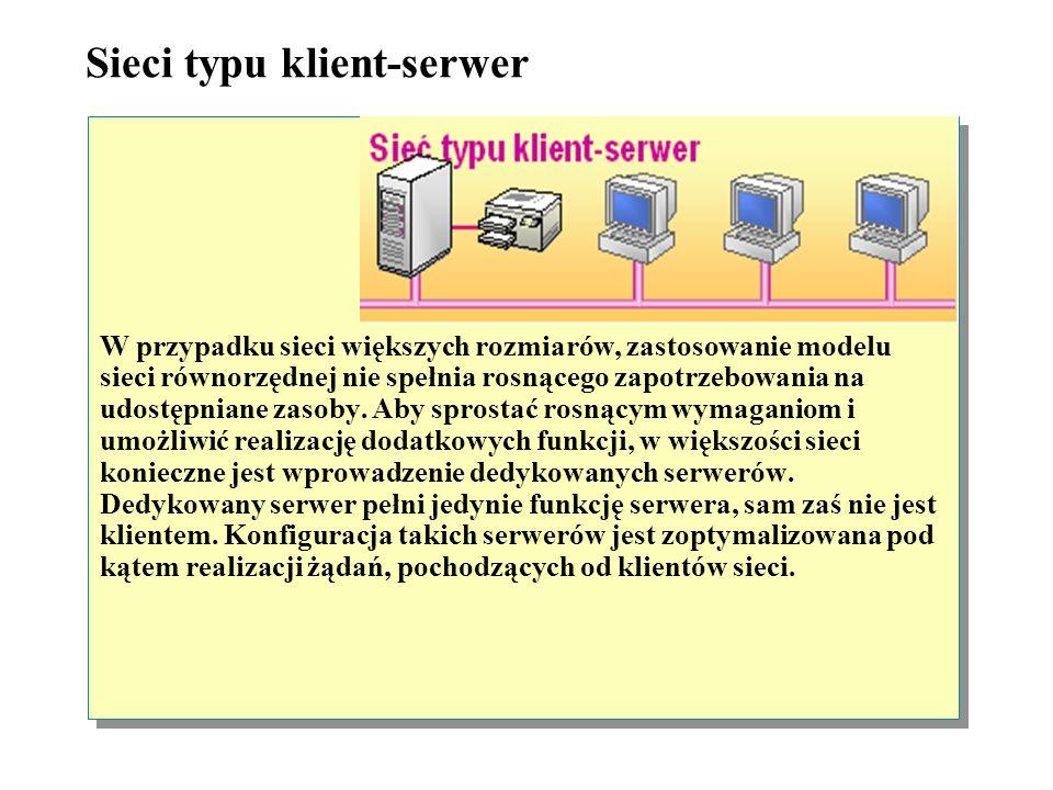 Sieci równorzędne Sieci równorzędne bywają także nazywane grupami roboczymi. Terminem grupa robocza określa się niewielką grupę indywidualnych użytkow