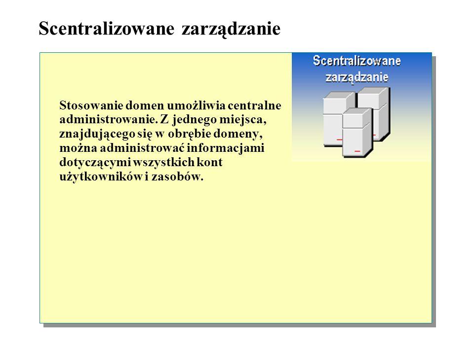 Jedno konto użytkownika Użytkownicy w domenach uzyskują dostęp do zasobów zgromadzonych na różnych komputerach, korzystając tylko z jednego konta (w p