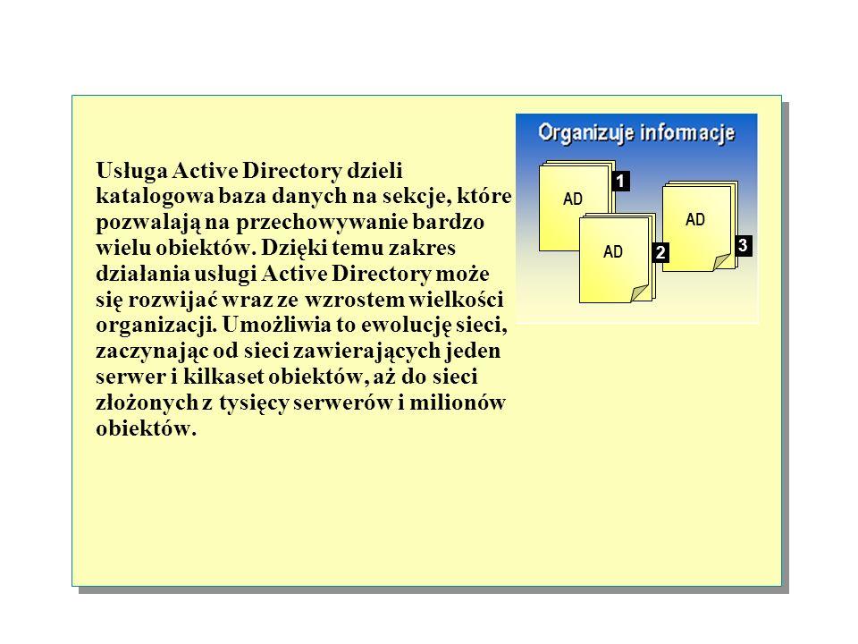Cechy usługi Active Directory Organizuje informacje Gromadzi informacje w jednym miejscu Zapewnia bezpieczeństwo 3 AD 1 2 Server1 Server2 Usługa katal