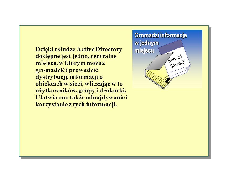 Usługa Active Directory dzieli katalogowa baza danych na sekcje, które pozwalają na przechowywanie bardzo wielu obiektów. Dzięki temu zakres działania