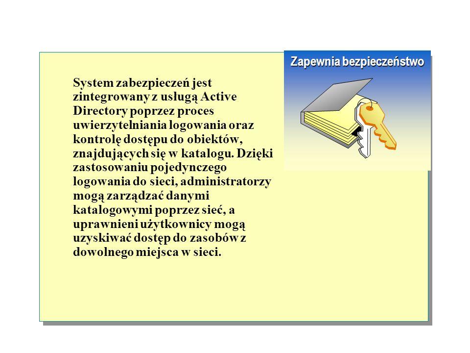 Dzięki usłudze Active Directory dostępne jest jedno, centralne miejsce, w którym można gromadzić i prowadzić dystrybucję informacji o obiektach w siec