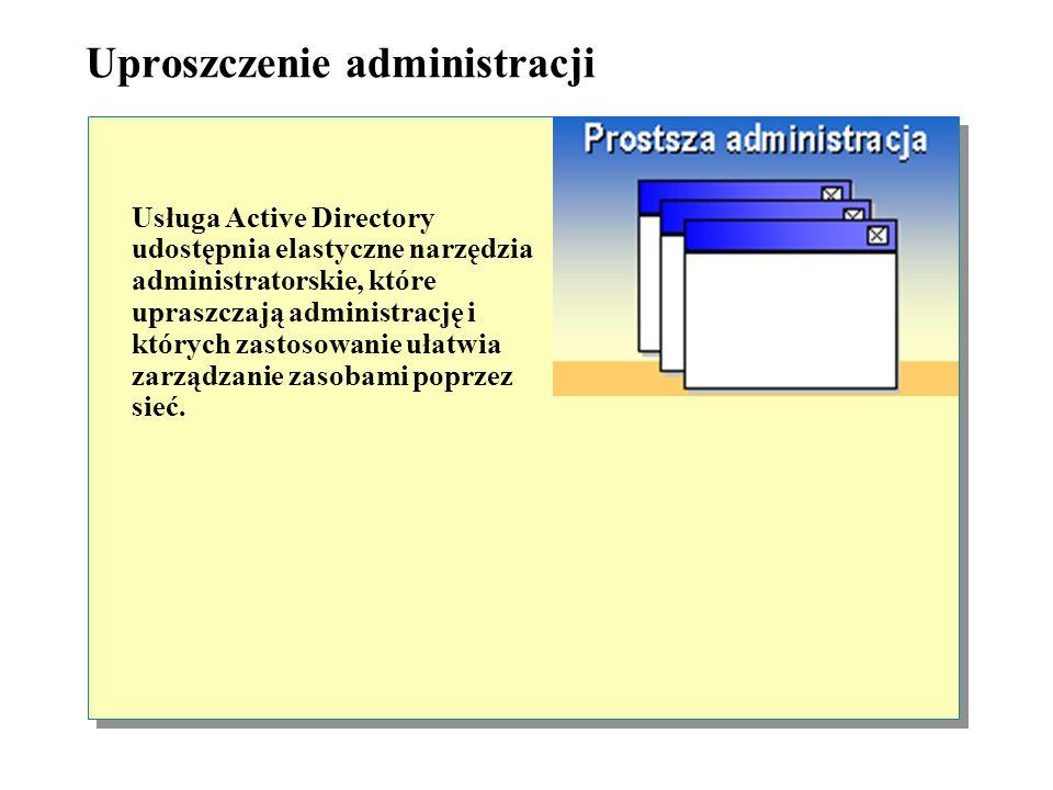 Zapewnienie skalowalności Usługa Active Directory rozszerza funkcje usług katalogowych, które były dostępne w poprzednich wersjach systemu Windows i z