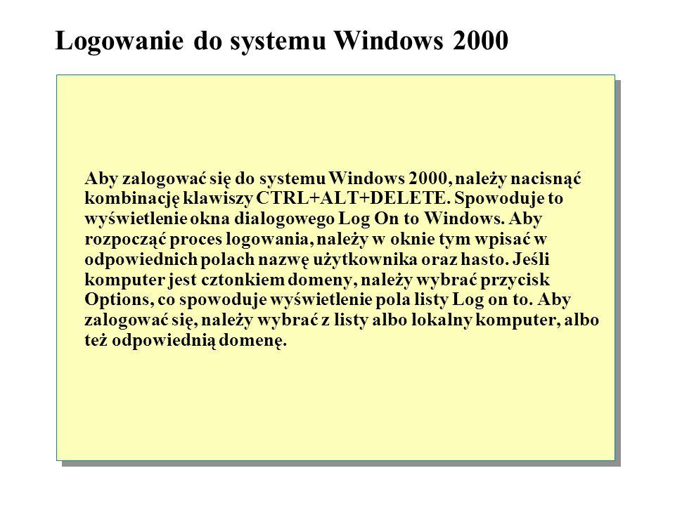 Aby zalogować się do domeny systemu, użytkownik musi podać główną nazwę użytkownika (UPN). Główna nazwa użytkownika składa się z nazwy logowania użytk