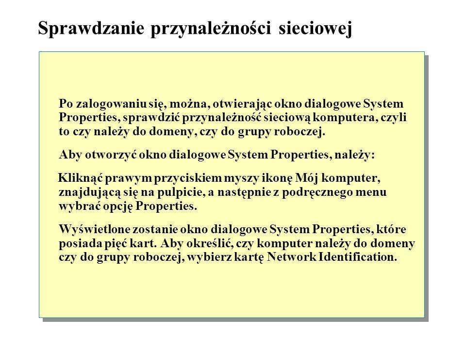 Logowanie do systemu Windows 2000 Aby zalogować się do systemu Windows 2000, należy nacisnąć kombinację klawiszy CTRL+ALT+DELETE. Spowoduje to wyświet