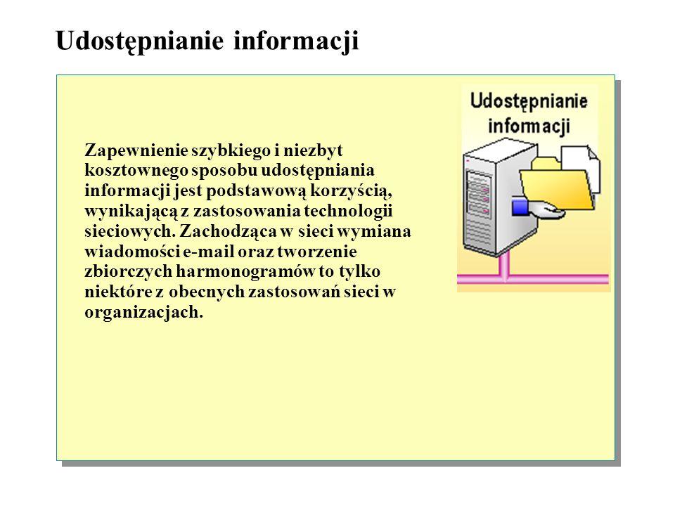 Udostępnianie informacji Zapewnienie szybkiego i niezbyt kosztownego sposobu udostępniania informacji jest podstawową korzyścią, wynikającą z zastosowania technologii sieciowych.