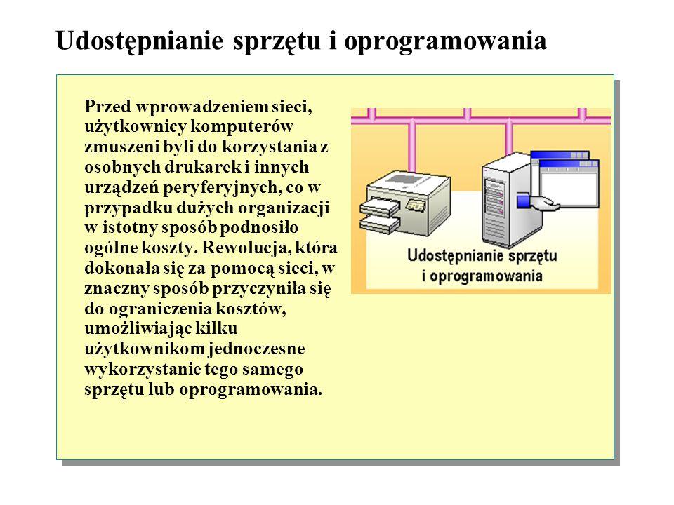 Udostępnianie sprzętu i oprogramowania Przed wprowadzeniem sieci, użytkownicy komputerów zmuszeni byli do korzystania z osobnych drukarek i innych urządzeń peryferyjnych, co w przypadku dużych organizacji w istotny sposób podnosiło ogólne koszty.