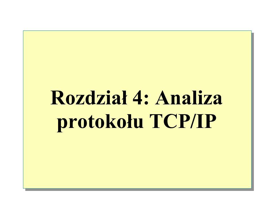 Warstwa interfejsu sieciowego Warstwa interfejsu sieciowego dodaje dwa rodzaje informacji preambułę oraz sumę kontrolną CRC do pakietu otrzymanego z warstwy IP.