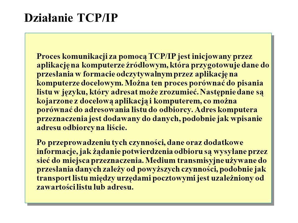 Działanie TCP/IP Proces komunikacji za pomocą TCP/IP jest inicjowany przez aplikację na komputerze źródłowym, która przygotowuje dane do przesłania w formacie odczytywalnym przez aplikację na komputerze docelowym.