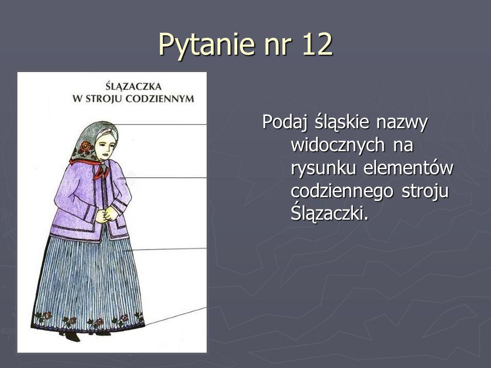 Pytanie nr 12 Podaj śląskie nazwy widocznych na rysunku elementów codziennego stroju Ślązaczki.