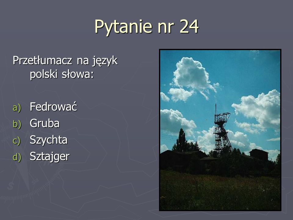 Pytanie nr 24 Przetłumacz na język polski słowa: a) Fedrować b) Gruba c) Szychta d) Sztajger