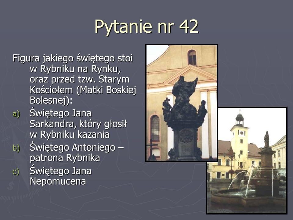 Pytanie nr 42 Figura jakiego świętego stoi w Rybniku na Rynku, oraz przed tzw. Starym Kościołem (Matki Boskiej Bolesnej): a) Świętego Jana Sarkandra,