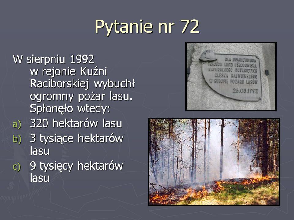 Pytanie nr 72 W sierpniu 1992 w rejonie Kuźni Raciborskiej wybuchł ogromny pożar lasu. Spłonęło wtedy: a) 320 hektarów lasu b) 3 tysiące hektarów lasu