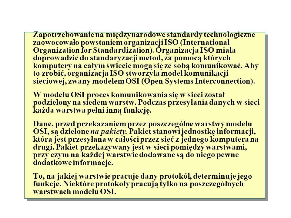 Model OSI (Open Systems Interconnection) Określa w jaki sposób aplikacje współdziałają ze sobą Dodaje podstawowe formatowanie do prezentacji danych Tw