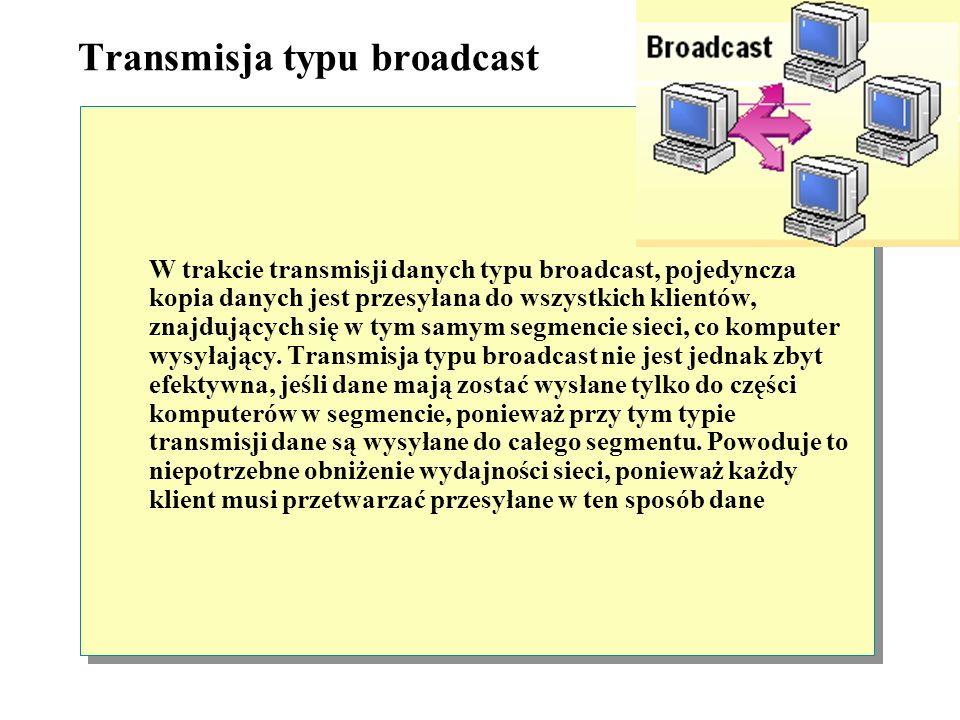 Transmisja typu unicast W przypadku transmisji typu unicast, oddzielna kopia danych przesyłana jest ze źródła do każdego komputera, będącego klientem,