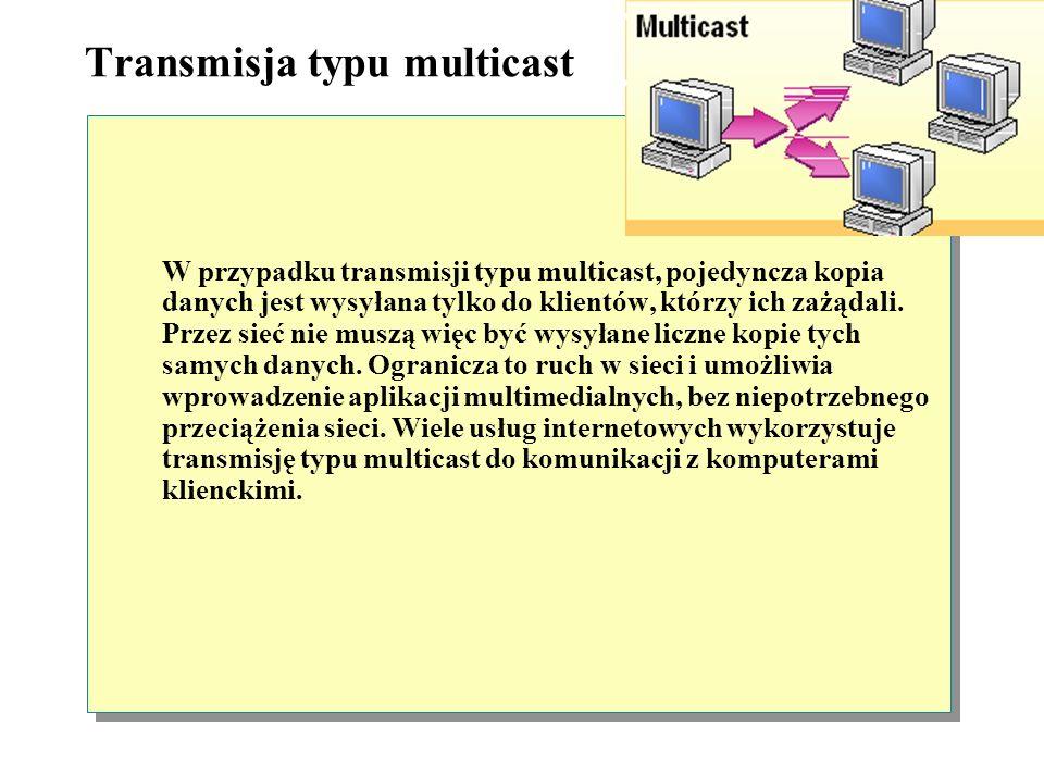 Transmisja typu broadcast W trakcie transmisji danych typu broadcast, pojedyncza kopia danych jest przesyłana do wszystkich klientów, znajdujących się