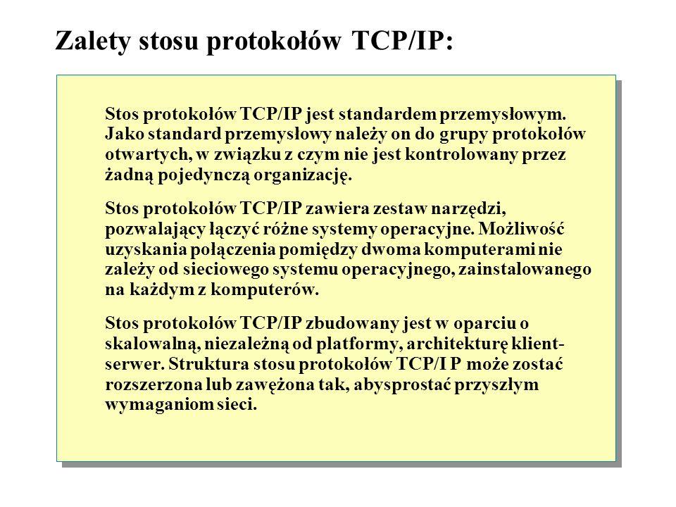 Protokół TCP/IP (Transmission Control Protocol/Internet Protocol) Środowisko sieciowe z ruterem Segment 1Segment 2 TCP/IP Klient Windows Ruter