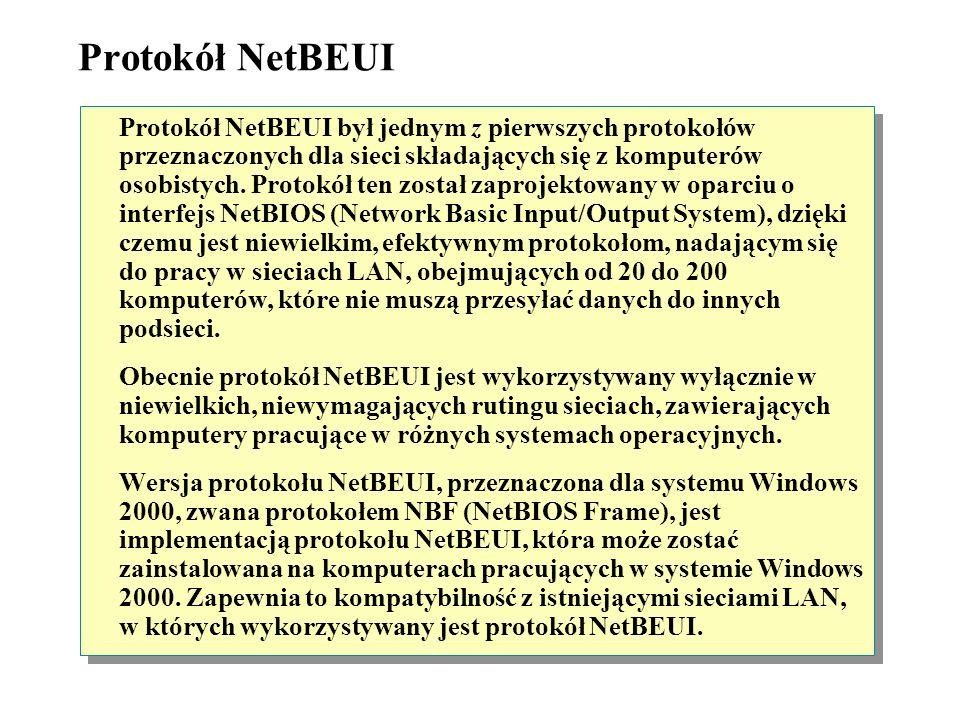 Protokół NWLink IPX/SPX/NetBIOS Compatible Transport Protocol Protokół NWLink IPX/SPX/NetBIOS Compatible Transport Protocol jest wersją stosu protokoł