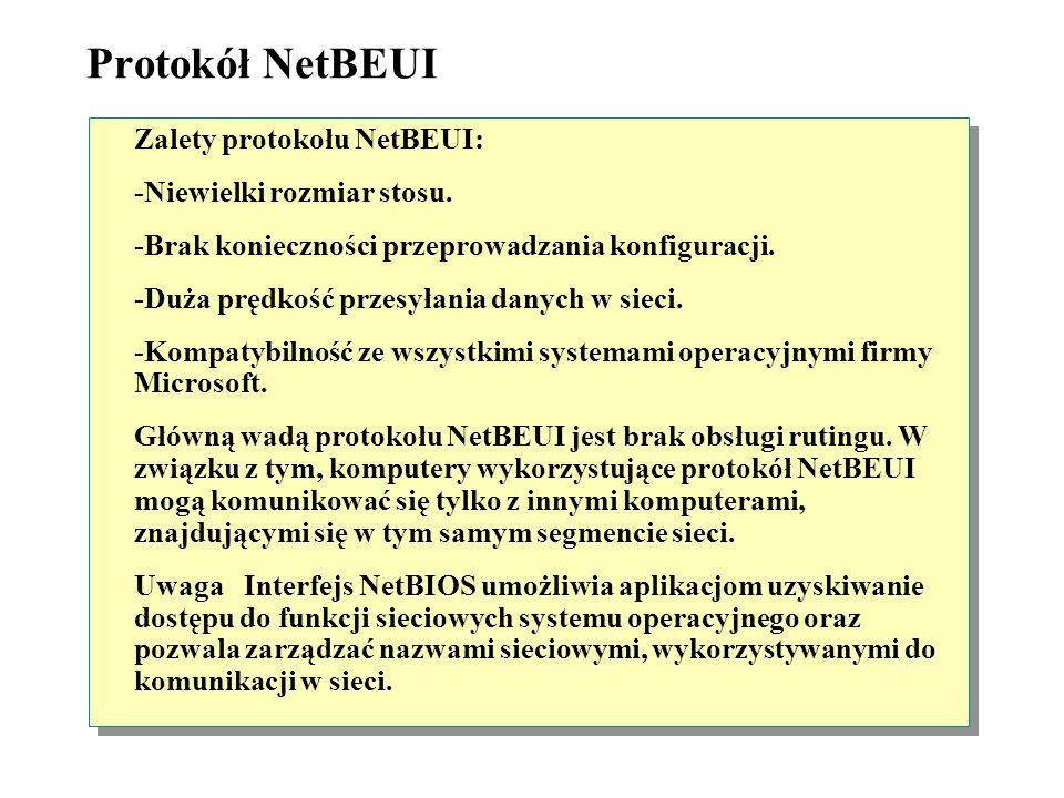 Środowisko sieciowe z ruterem Segment 1Segment 2 NetBEUI Klient Windows Ruter NetBEUI Środowisko sieciowe z ruterem Segment 1Segment 2 Klient Windows