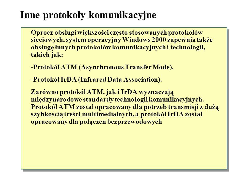 Protokół AppleTalk Środowisko sieciowe z ruterem Segment 1Segment 2 AppleTalk Klient Macintosh Windows 2000 Server Ruter