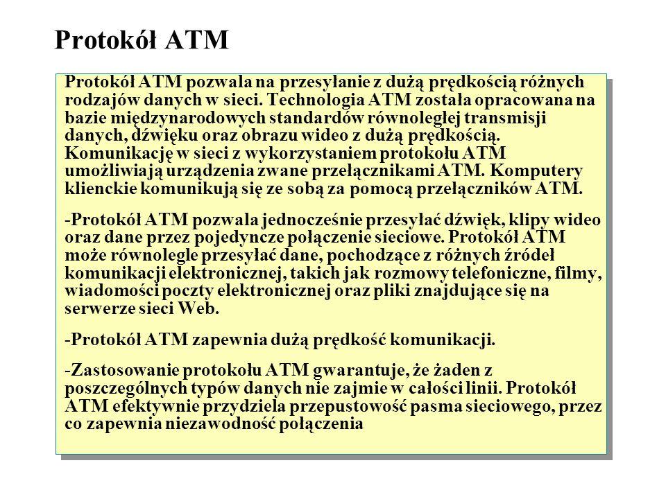 Protokół ATM (Asynchronous Transfer Mode) Transmisja klipów wideo, dźwięku i danych za pomocą ATM Przełącznik ATM
