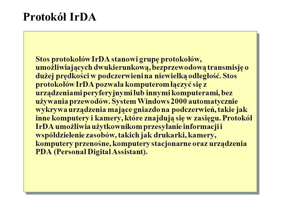 Protokół IrDA (Infrared Data Association) Bezprzewodowa komunikacja za pomocą IrDA Klient Windows Mysz Laptop