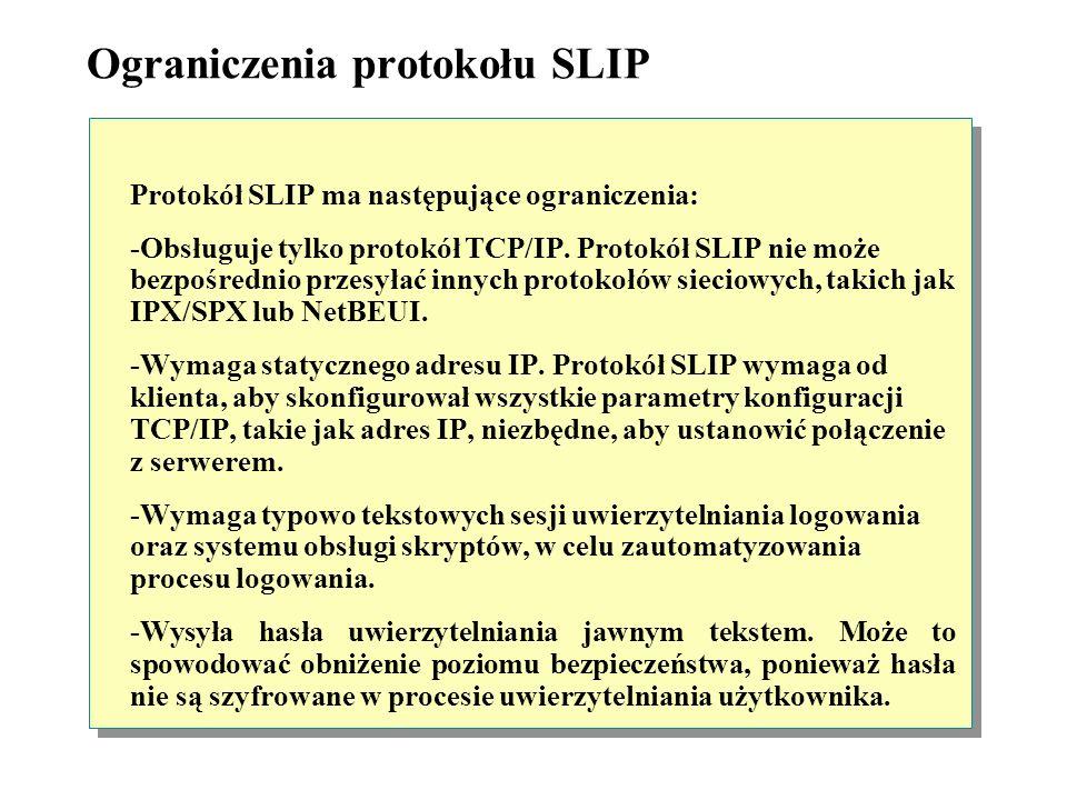 Protokół SLIP Protokół SLIP umożliwia klientom zdalnego dostępu łączyć się z serwerami zdalnego dostępu poprzez modem. Pozwala to komputerom klienckim