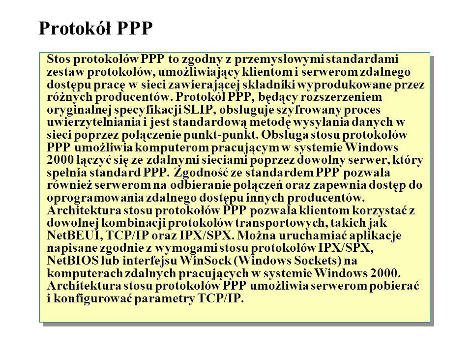 Ograniczenia protokołu SLIP Protokół SLIP ma następujące ograniczenia: -Obsługuje tylko protokół TCP/IP. Protokół SLIP nie może bezpośrednio przesyłać
