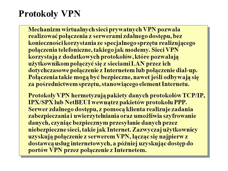 Protokoły VPN Sieć korporacyjna musi być oparta o IP Kompresja nagłówka Brak uwierzytelniania w tunelu Używa szyfrowania MPPE PPTPPPTP Sieć korporacyj