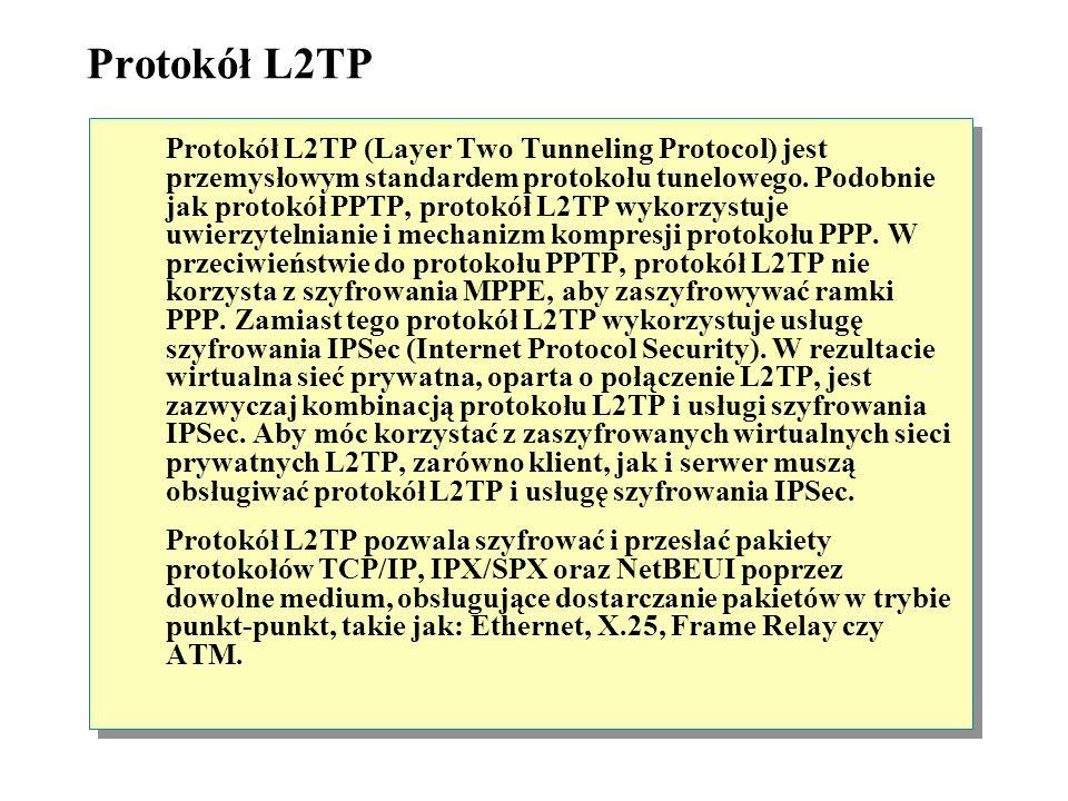 Protokół PPTP W sieciach VPN połączenie nawiązuje się za pomocą protokołu PPTP (Point-to-Point Tunneling Protocol) albo protokołu L2TP (Layer Two Tunn
