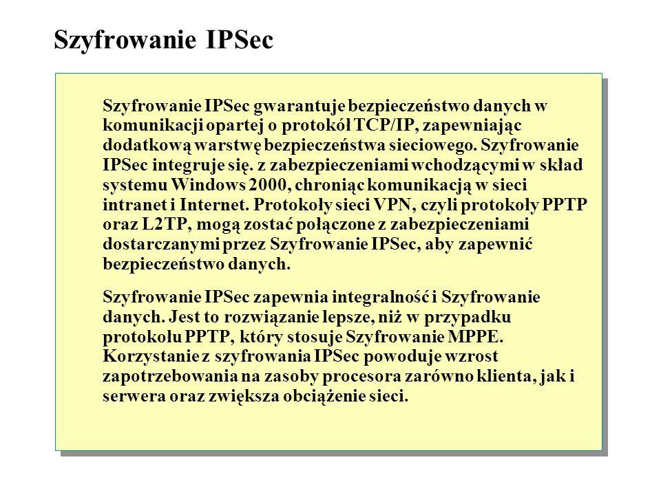 Protokół L2TP Protokół L2TP (Layer Two Tunneling Protocol) jest przemysłowym standardem protokołu tunelowego. Podobnie jak protokół PPTP, protokół L2T