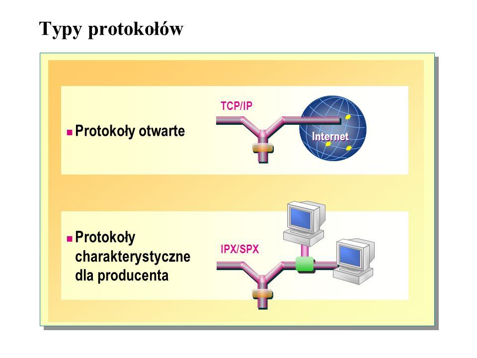 Zalety stosu protokołów TCP/IP: Stos protokołów TCP/IP jest standardem przemysłowym.