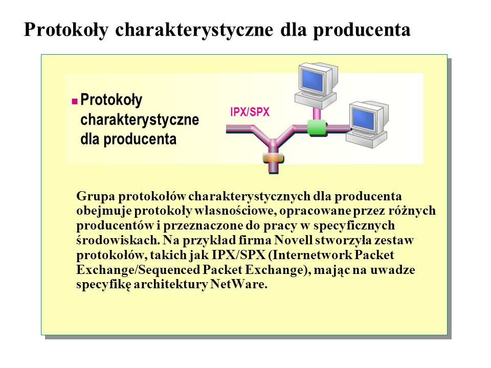 Protokoły charakterystyczne dla producenta Grupa protokołów charakterystycznych dla producenta obejmuje protokoły własnościowe, opracowane przez różnych producentów i przeznaczone do pracy w specyficznych środowiskach.