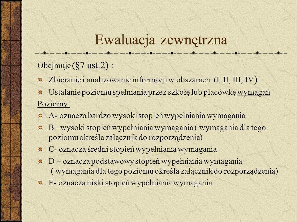 Ewaluacja zewnętrzna 1 Szkoła/placówka przedstawia wyniki ewaluacji wewnętrznej, które są brane pod uwagę podczas ewaluacji zewnętrznej.
