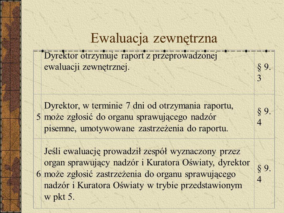 Ewaluacja zewnętrzna Dyrektor otrzymuje raport z przeprowadzonej ewaluacji zewnętrznej.§ 9.