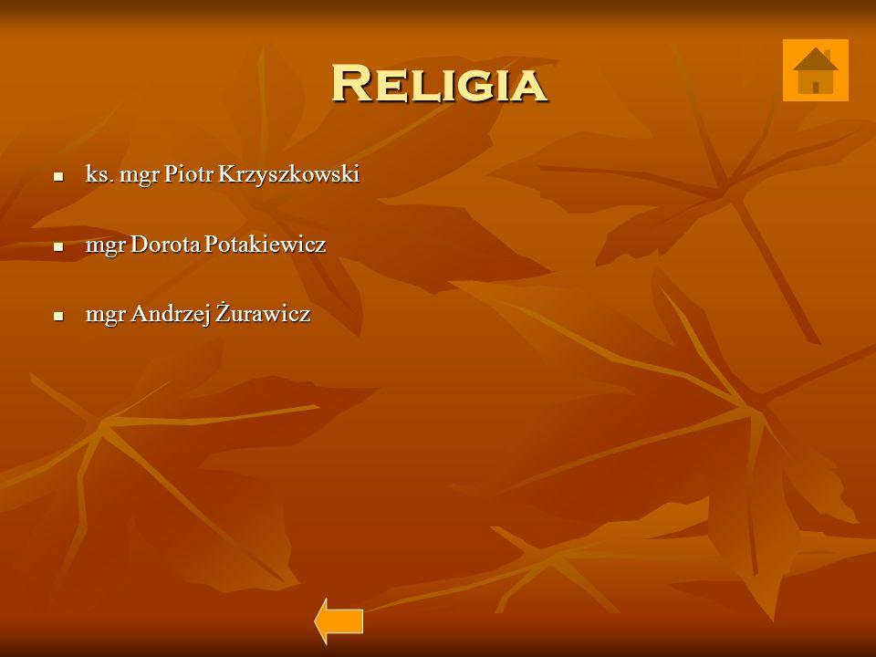 Religia ks. mgr Piotr Krzyszkowski ks. mgr Piotr Krzyszkowski mgr Dorota Potakiewicz mgr Dorota Potakiewicz mgr Andrzej Żurawicz mgr Andrzej Żurawicz