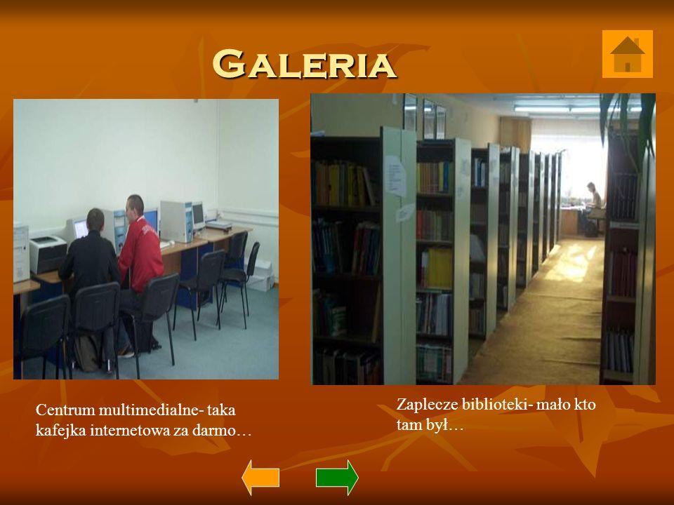 Galeria Centrum multimedialne- taka kafejka internetowa za darmo… Zaplecze biblioteki- mało kto tam był…