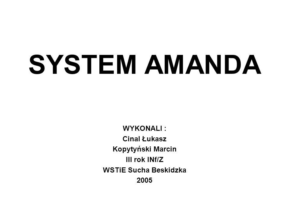 SYSTEM AMANDA WYKONALI : Cinal Łukasz Kopytyński Marcin III rok INf/Z WSTiE Sucha Beskidzka 2005