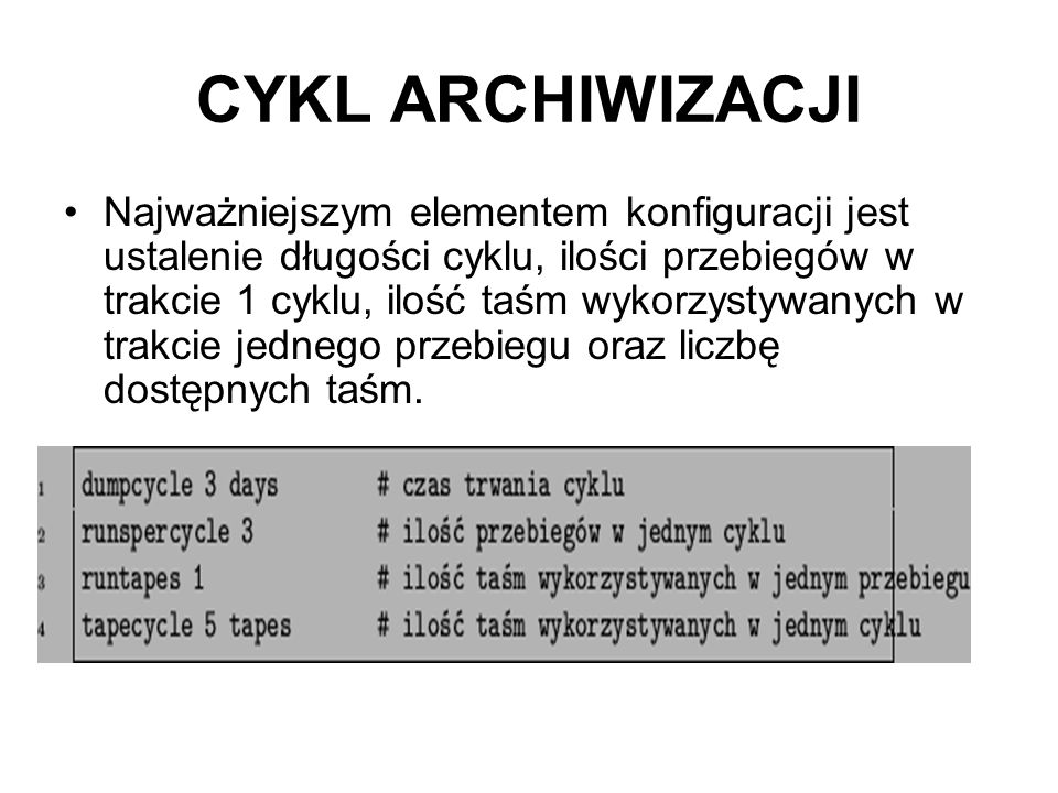 CYKL ARCHIWIZACJI Najważniejszym elementem konfiguracji jest ustalenie długości cyklu, ilości przebiegów w trakcie 1 cyklu, ilość taśm wykorzystywanyc