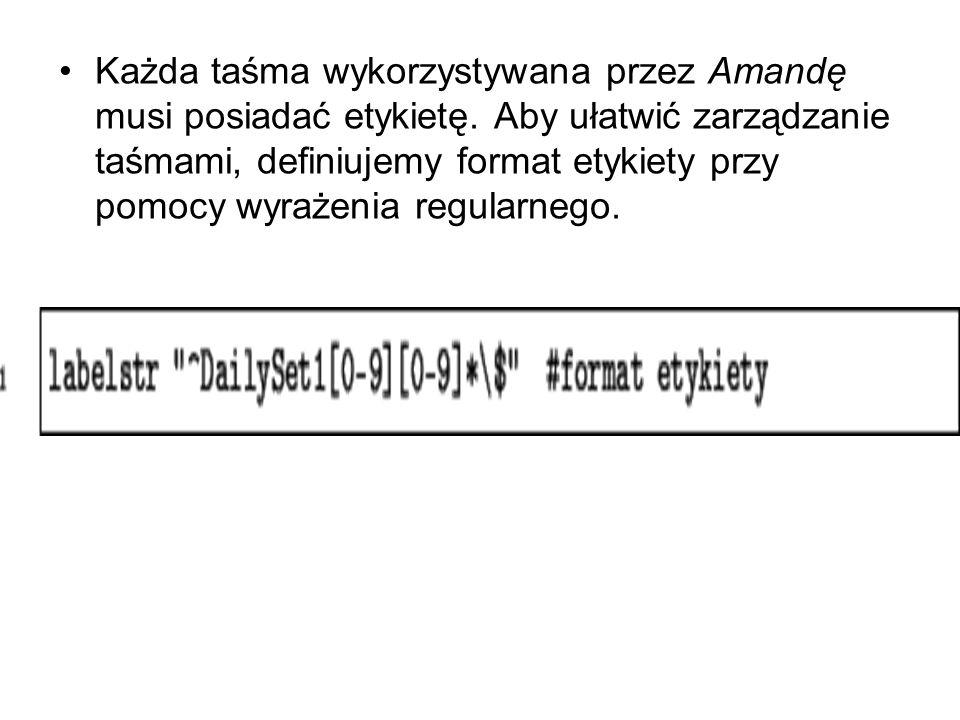 Każda taśma wykorzystywana przez Amandę musi posiadać etykietę. Aby ułatwić zarządzanie taśmami, definiujemy format etykiety przy pomocy wyrażenia reg