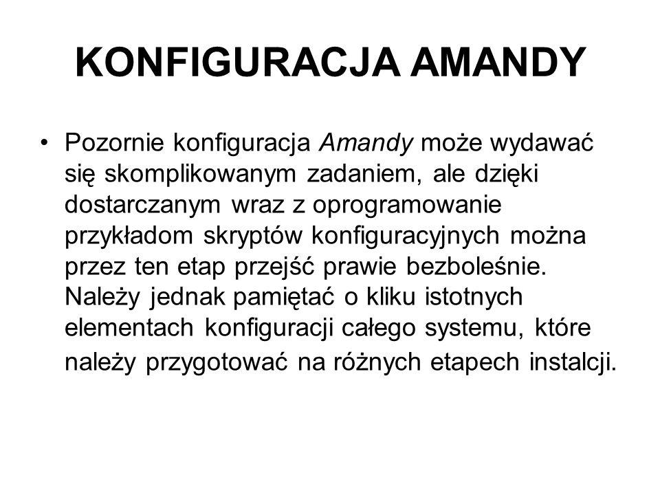 KONFIGURACJA AMANDY Pozornie konfiguracja Amandy może wydawać się skomplikowanym zadaniem, ale dzięki dostarczanym wraz z oprogramowanie przykładom sk