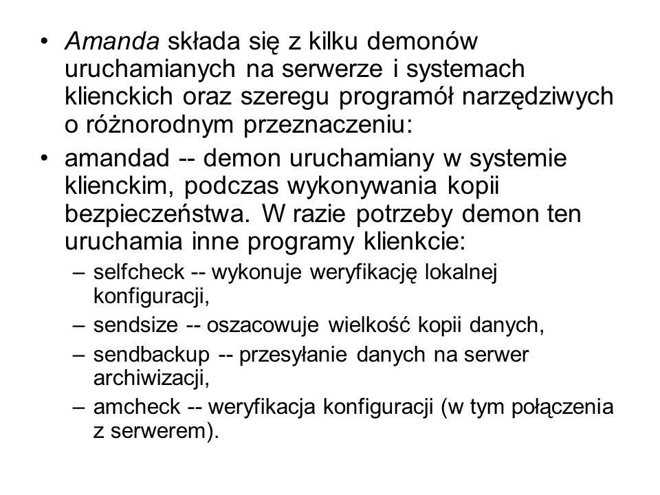 Amanda składa się z kilku demonów uruchamianych na serwerze i systemach klienckich oraz szeregu programół narzędziwych o różnorodnym przeznaczeniu: am
