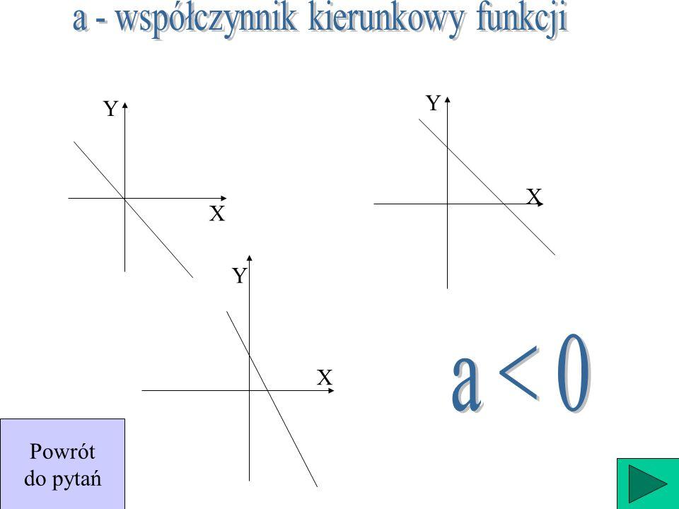 X Y X Y X Y y= 3 y = -2 y = 0 y = a x + b Powrót do pytań