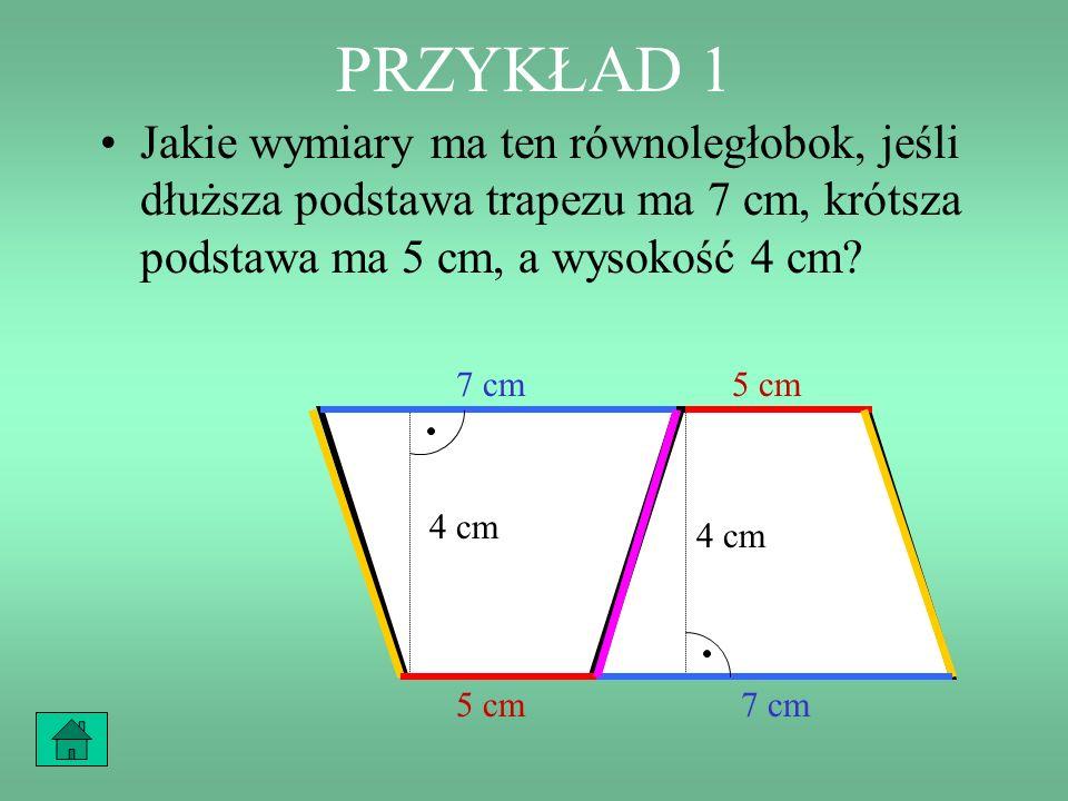 PRZYKŁAD 1 Jakie wymiary ma ten równoległobok, jeśli dłuższa podstawa trapezu ma 7 cm, krótsza podstawa ma 5 cm, a wysokość 4 cm? 7 cm 5 cm 4 cm