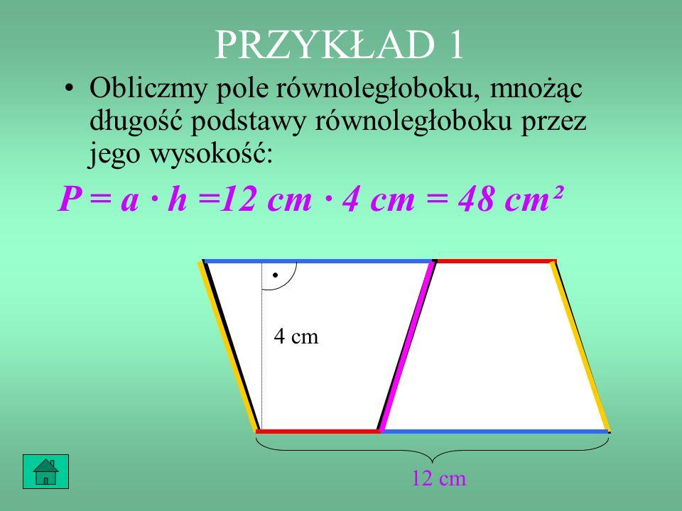 PRZYKŁAD 1 Zatem utworzony równoległobok ma podstawę długości 12 cm i wysokość równą wysokości trapezu, czyli 4 cm. 4 cm 12 cm