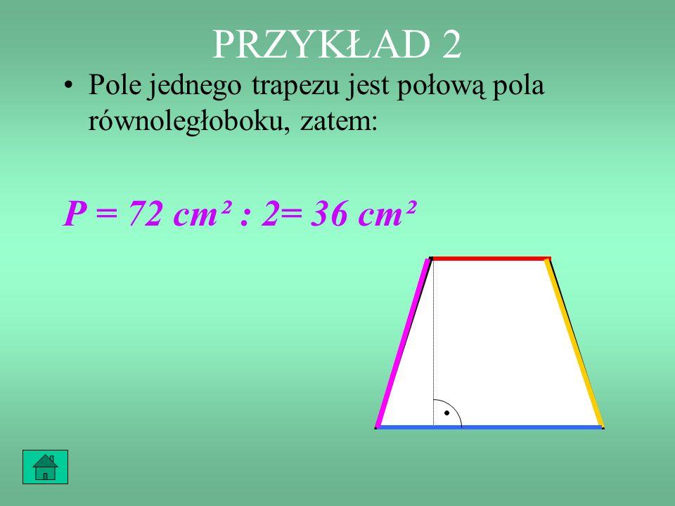 PRZYKŁAD 2 Pole tego równoległoboku wynosiłoby: P = 12 cm · 6 cm = 72 cm² 6 cm 12 cm