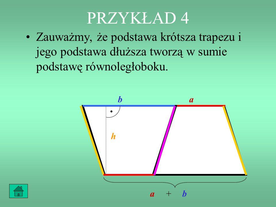 PRZYKŁAD 4 A gdyby jedna podstawa trapezu była równa a, druga podstawa trapezu była równa b, a wysokość trapezu była równa h? b a h b a h