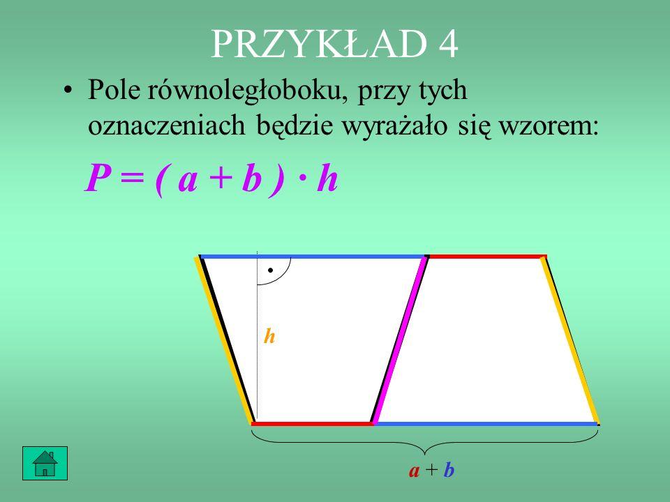 PRZYKŁAD 4 Zatem utworzony równoległobok ma podstawę długości (a + b) i wysokość równą wysokości trapezu, czyli h. h a + ba + b